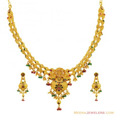 22K Designer Meenakari Necklace Set ( 22 Kt Gold Sets )