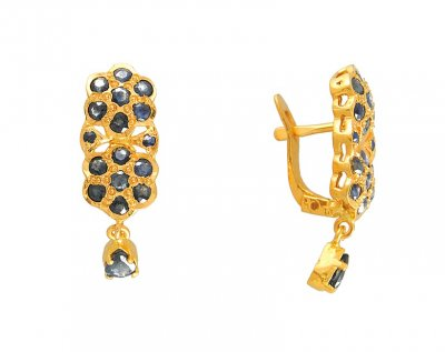 22Kt Gold Sapphire Clipons ( Precious Stone Earrings )