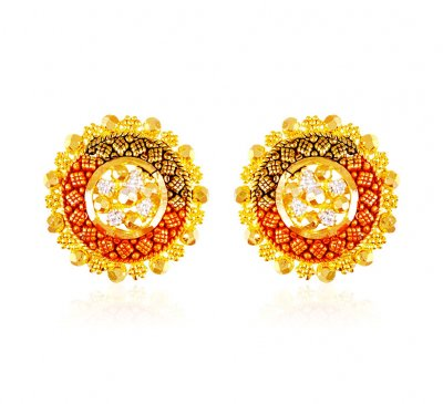 22k Gold  Earrings with Tri Color ( 22 Kt Gold Tops )