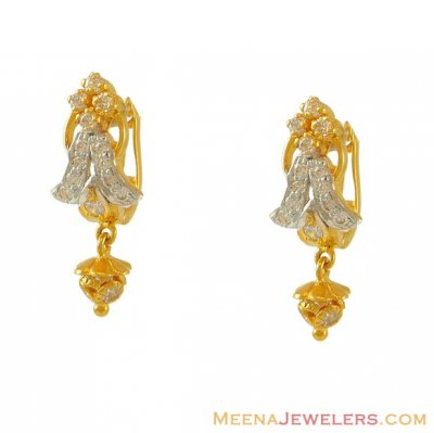 Cubic Zircon Clip On Earrings(22k) ( Clip On Earrings )
