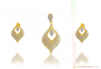 22kt Fancy Two Tone Pendant Set ( Fancy Pendant Set )