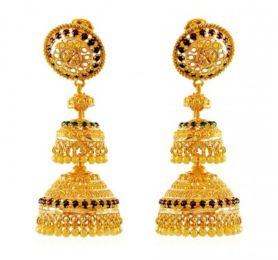 Layered Chandelier Gold Jhumka ( 22Kt Gold Fancy Earrings )