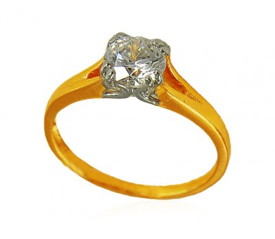 22K Gold Solitaire Ring ( Ladies Signity Rings )