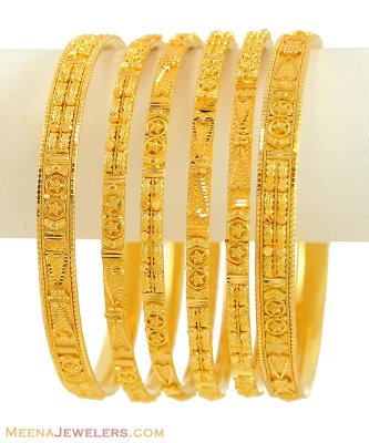 22K Gold Bangles Set (set of 6) ( Set of Bangles )