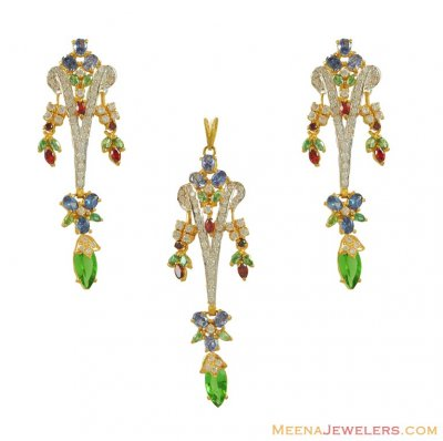 22Kt Gold Colorful Pendant Set ( Fancy Pendant Set )
