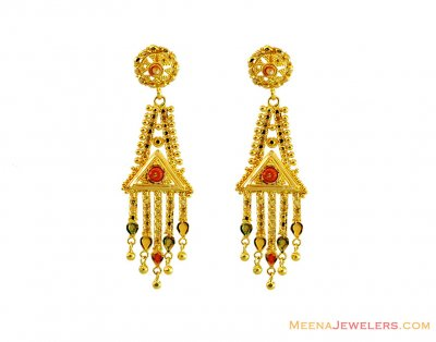 Indian Gold Earrings 22K ( 22Kt Gold Fancy Earrings )