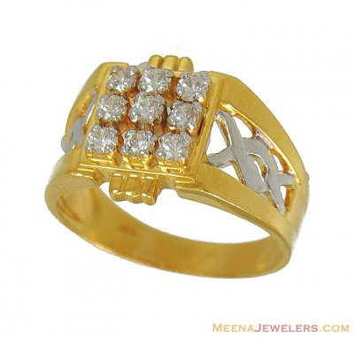 22Kt Mens Two Tone Signity Ring ( Mens Signity Rings )