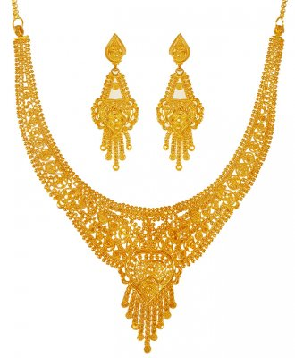 22KT Gold Necklace Earring Set ( Light Sets )