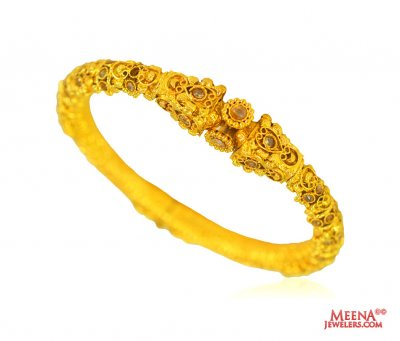 Gold Bangle With Polkie Stones ( Precious Stone Bangles )