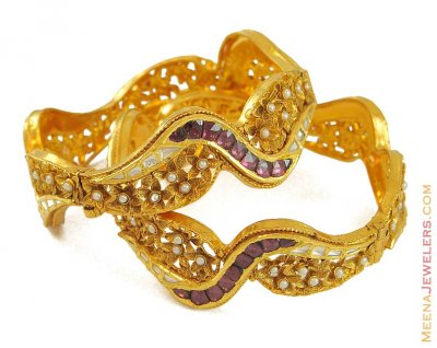 Antique Bangles with Kundan and pearls ( Antique Bangles )