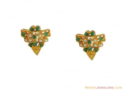 Emerald Earring (22K) ( Precious Stone Earrings )