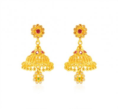 22kt Gold Jhumkhi Earrings ( Exquisite Earrings )