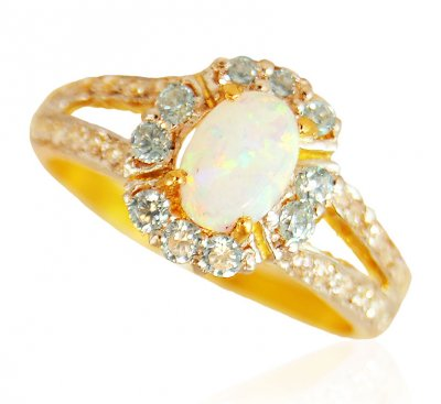 22k Gold  Opal  Ring  ( Ladies Rings with Precious Stones )