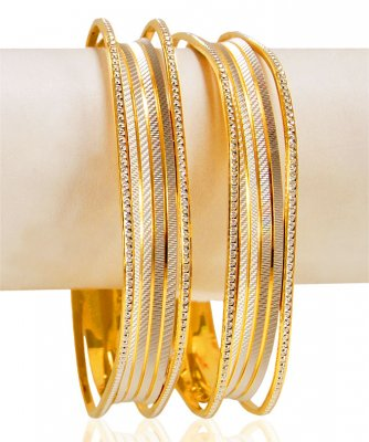 22K Gold Square Bangles (2PCS) ( Two Tone Bangles )