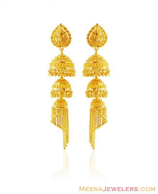 22k Fancy Layer Chandelier Earrings ( 22Kt Gold Fancy Earrings )