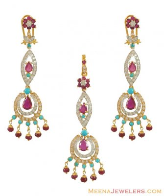 22K Ruby and Turquoise Pendant set ( Precious Stone Pendant Sets )