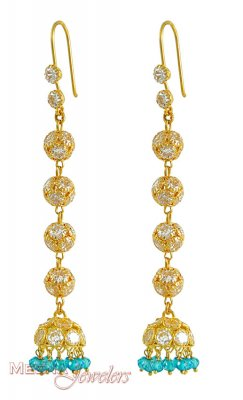 Gold Long Fancy Earrings ( Long Earrings )