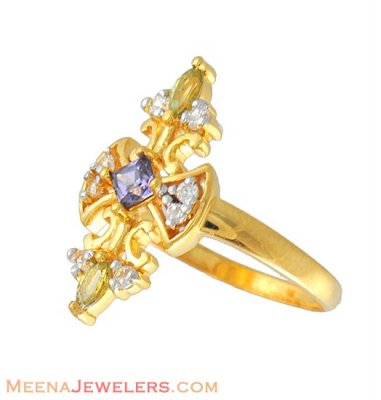 Gold Ring with Color Stones ( Ladies Signity Rings )