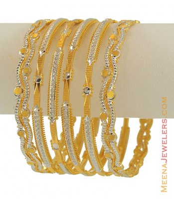 22k Designer Rhodium Finish Bangles  ( Set of Bangles )