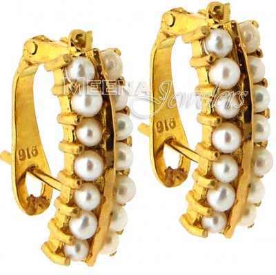 22Kt Gold Pearl Earrings ( Precious Stone Earrings )