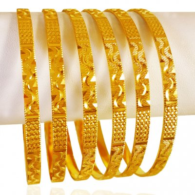22Kt Gold Bangles (Set of 6)  ( Set of Bangles )