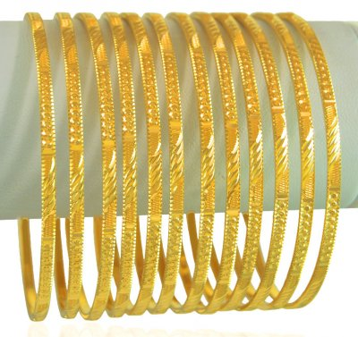 22K Gold Machine Bangles Set(12 Pc) ( Set of Bangles )