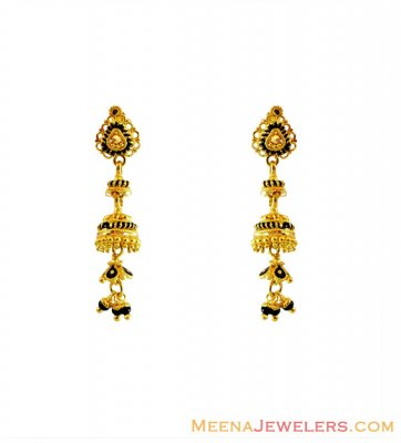 22K Gold Black Meena Long Earrings ( 22Kt Gold Fancy Earrings )