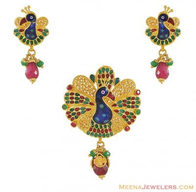 22K Peacock Pendant (NO Earrings) ( Antique Pendant Sets )