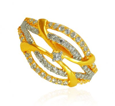 22k Gold Ring with CZ stones ( Ladies Signity Rings )