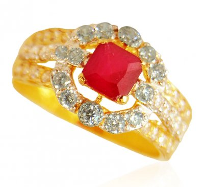 22K Gold Ring with Ruby ( Ladies Rings with Precious Stones )