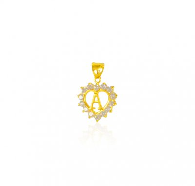 22k Gold Pendant with Initial (A) ( Initial Pendants )