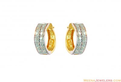 22k Fancy 2 Tone Clip On Earrings ( Clip On Earrings )