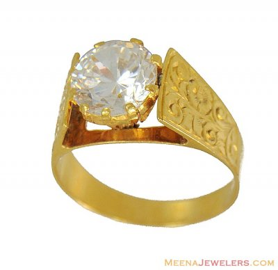 Gold Mens Solitaire Signity Ring ( Mens Signity Rings )