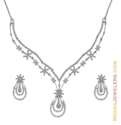 18 k CZ Necklace Earring set ( White Gold Sets )