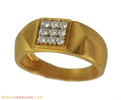 22K Yellow Gold Stones Ring  ( Mens Gold Ring )