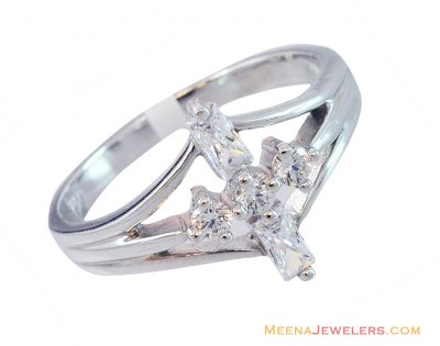 18K Fancy Four Stone Ring ( Ladies White Gold Rings )