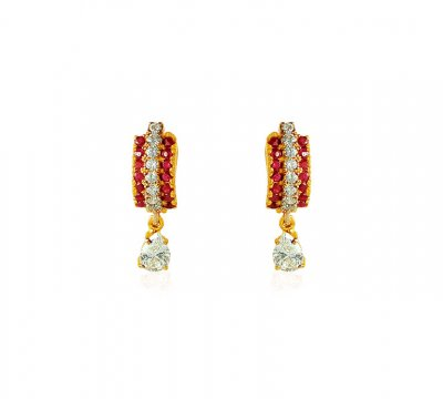 Ruby 22K Gold Earrings ( Clip On Earrings )