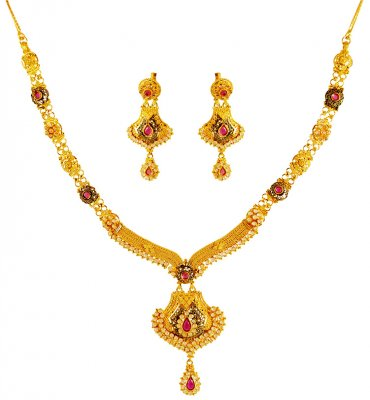 22kt Gold Necklace Set ( Gold Designer Sets )