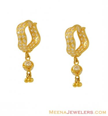 22k Designer CZ Clip On Earrings ( Clip On Earrings )
