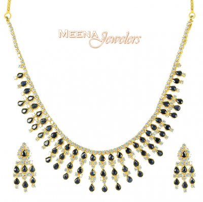 22Kt Gold Sapphire and CZ Necklace ( Combination Necklace Set )