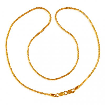 22K Two Tone Gold Chain (16 In) ( Plain Gold Chains )