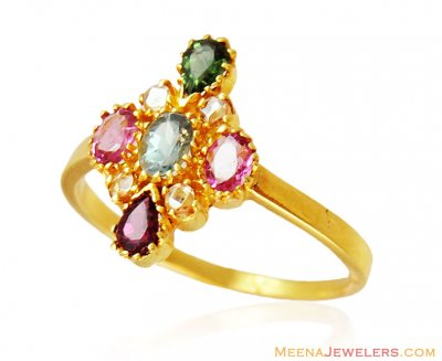Fancy Colored Stones Ring 22k Gold ( Ladies Signity Rings )