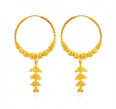 22k Gold Fancy Bali ( Hoop Earrings )