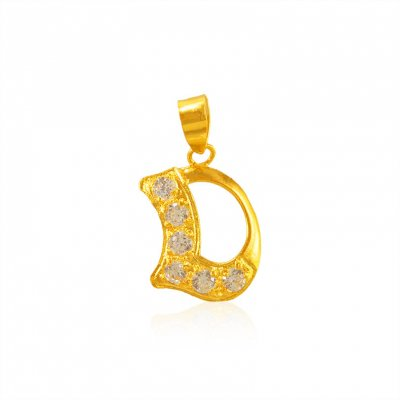 22K Gold Pendant with Initial (D) ( Initial Pendants )