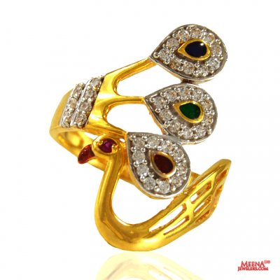 22 Karat CZ Peacock Ring ( Ladies Signity Rings )