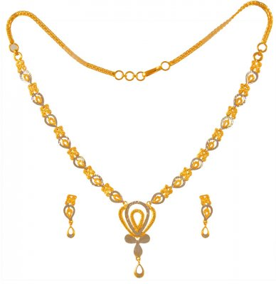 22K Gold Necklace Set Two Tone  ( Light Sets )