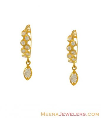 Yellow Gold Clip Ons With CZ ( Clip On Earrings )