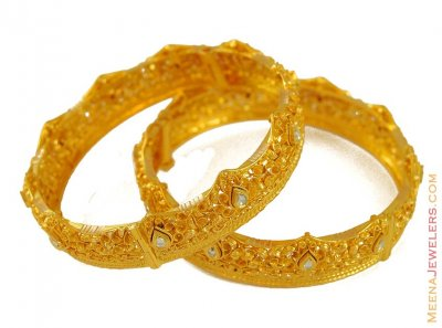 22K Gold Wavy Bangle ( Antique Bangles )