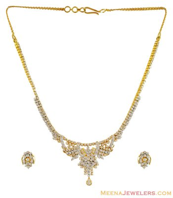 22K Gold Signity Necklace Set ( Precious Stone Sets )