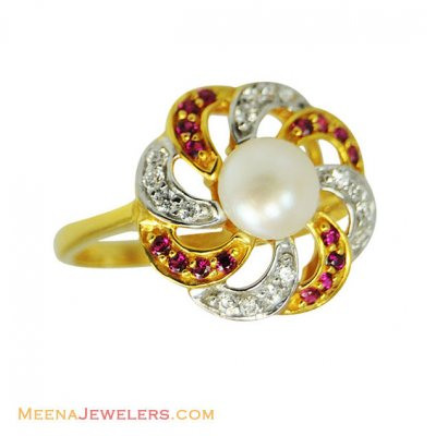 22K Fancy Stones With Pearl Ring ( Ladies Rings with Precious Stones )